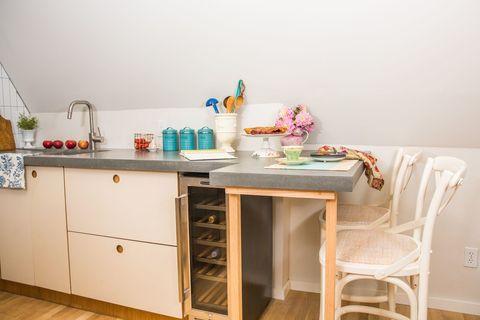 Furniture, Room, Property, Desk, Table, Turquoise, Interior design, Kitchen, House, Floor,