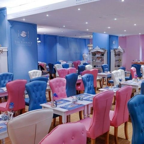 Blue, Room, Restaurant, Interior design, Building, Table, Furniture, Event, Function hall, Chair,