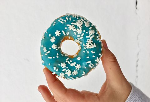 Doughnut, Hand, Circle, Design, Finger, Pattern, Pastry, Baked goods, Paper, Tableware,