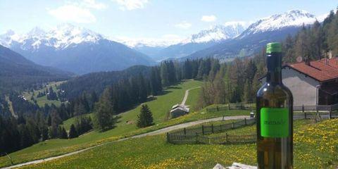 Mountainous landforms, Mountain range, Mountain, Alps, Natural landscape, Drink, Wilderness, Hill station, Bottle, Highland,