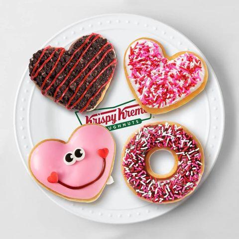 Heart, Doughnut, Pink, Food, Cookie, Baked goods, Snack, Cookies and crackers, Icing, Sprinkles,