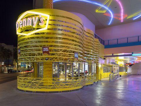 Yellow, Building, Night, Metropolitan area, Architecture, Shopping mall, City, Metropolis, Mixed-use,