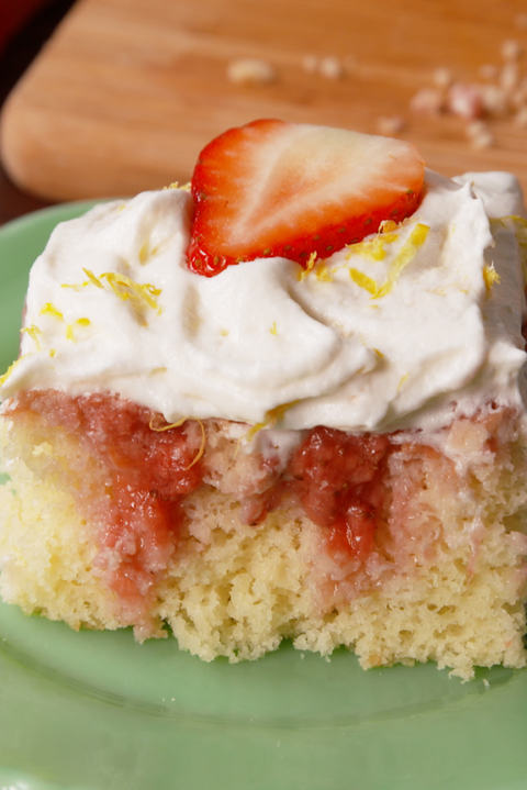 Strawberries 'N Cream Poke Cake Vertical
