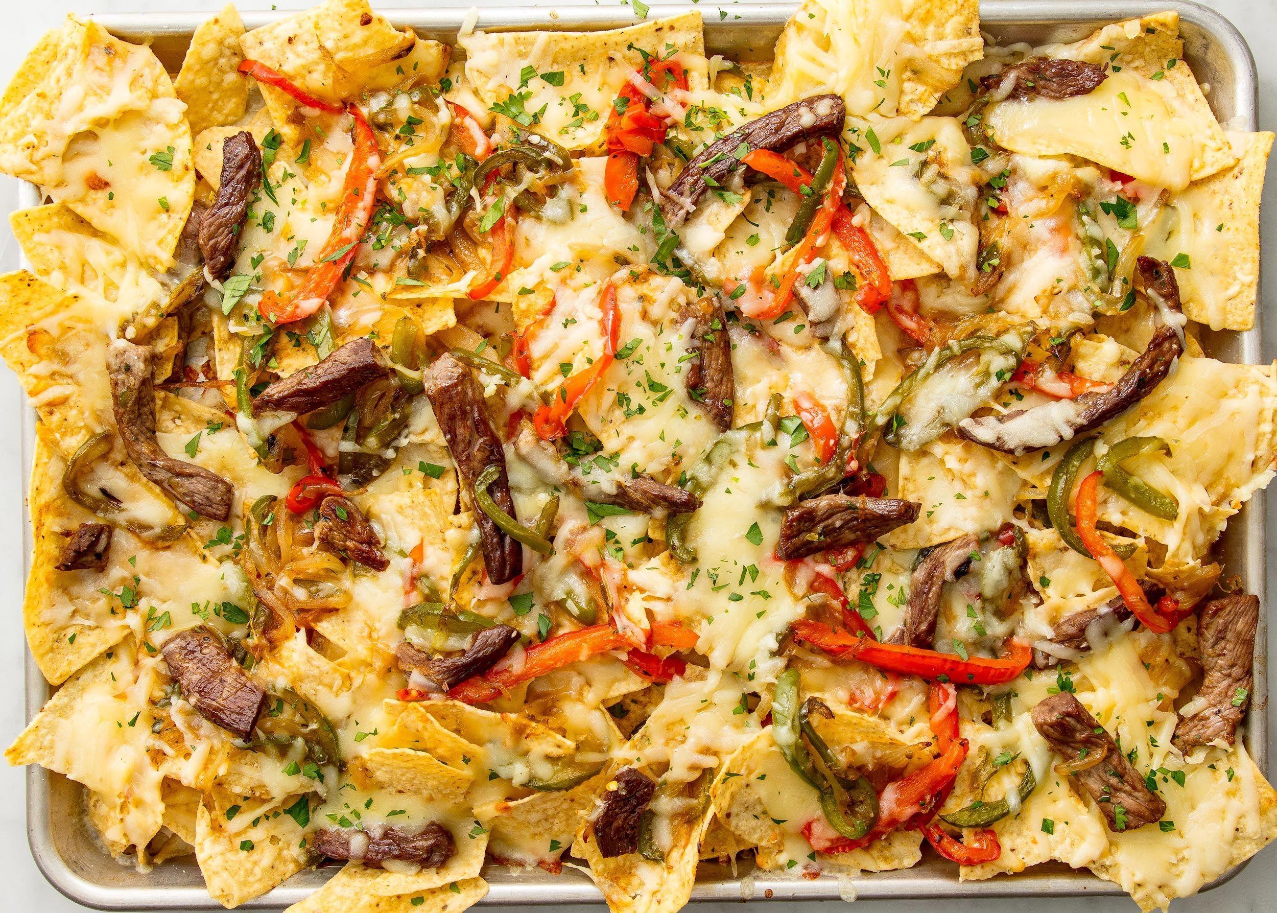 Philly Cheese Steak Nachos Recipe Man Vs Food