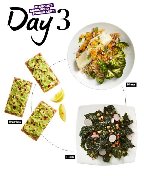<p><strong>Avocado on crisp bread crackers with lemon juice and chile flakes</strong><br /><strong>Recipe:</strong> Spread ⅓ ripe avocado atop 3 crisp breads (like Finn Crisp) with 1 squeeze fresh lemon juice and 1 pinch <em>each</em> red chile flakes and sea salt.</p> <p><strong>Kale detox salad with lime-sesame vinaigrette, radish, toasted sesame seeds, toasted almonds, and chickpeas (or sautéed tofu)</strong><br /><strong>Recipe:</strong> Massage 3 cups torn kale with 1 Tbsp lime-sesame vinaigrette (¼ tsp low-sodium soy sauce, ½ tsp toasted sesame oil, 1 tsp grapeseed oil, 1 tsp lime juice, ½ tsp fresh grated ginger, and ⅛ tsp crushed garlic). Toss gently with ¼ cup sliced watermelon radish, 1 pinch toasted sesame seeds, 2 tsp toasted almonds, and ¼ cup chickpeas (or ⅓ cup sautéed tofu).</p> <p><strong>Oven-roasted bass or cod with clementine-cilantro-red-onion gremolata, brown basmati rice, and sautéed broccoli</strong><br /><strong>Recipe:</strong> Roast 4 oz bass or cod seasoned with salt and pepper at 375°, about 10 minutes, until flaky. Top with ⅓ cup clementine-cilantro-red-onion gremolata (1 Tbsp minced red onion, 1 tsp minced cilantro, 1 squeeze clementine juice, ½ chopped clementine). Sauté 1 ½ cups broccoli with 2 tsp olive oil and 1 clove minced garlic. Serve with bass and ½ cup brown basmati rice.</p>
