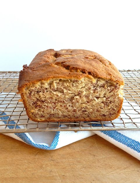 This banana bread from one of our staffer's moms is simple but amazing. A tip from mom: Freeze the loaf after cooling to make the banana bread extra moist.