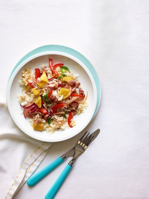 """<p>Fried rice gets a light spring lift from tropic ingredients that conjure a different comfort food favorite — Hawaiian Pizza!</p><p><strong>Recipe: <a href=""""http://www.delish.com/recipefinder/pineapple-ham-fried-rice-recipe-wdy0414"""" target=""""_blank"""">Pineapple and Ham Fried Rice</a></strong></p>"""