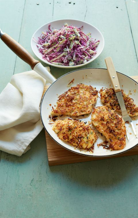 "<p>A crispy coconut breading studded with scallions is a healthier way to add sweetness and crunch to this creative chicken recipe.</p> <p><strong>Recipe: <a href=""http://www.delish.com/recipefinder/crispy-coconut-scallion-breaded-chicken-cutlets-recipe-wdy0114"" target=""_blank"">Crispy Coconut and Scallion Breaded Chicken Cutlets</a></strong></p>"