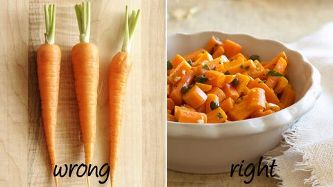 "<p><strong>Wrong</strong>: Many people eat these veggies raw, either for dunking purposes or in order to throw them into salads.</p> <p><strong>Right:</strong> Research from Columbia University published in the journal <a href=""http://cebp.aacrjournals.org/content/13/9/1422.long""><em>Cancer Epidemiology, Biomarkers & Prevention</em></a> found that cooking carrots increases the bioavailability of carotenoids—they boost your immune system and heart health and decrease your risk of disease, especially certain cancers and eye disease—so your body is then better able to absorb those important nutrients.</p>"