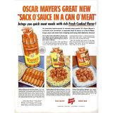 "<p><b>Company:</b> Oscar Mayer<br /> <b>This Ad Ran In:</b> 1960s</p>  <p>When you were a kid, did you ever have a hot dog sliced up in your macaroni and cheese? In the 1960s, Oscar Mayer used the natural pairing of hot dogs and carbs to create and promote ""Sack O' Sauce."" You got a can of wieners with a pouch of sauce in the middle — barbecue beef to go with noodles or macaroni and barbecue pork to go with rice or spaghetti. Do you wish your hot dogs came with their own sack of sauce today?</p>"
