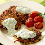 """<p>Tzatziki, a flavorful Greek yogurt sauce laced with cucumber, is a tangy accompaniment for these high-fiber latkes. Make it a meal: Enjoy with sliced fresh tomatoes and a few kalamata olives or put patties and tzatziki in pita pockets for lunch on the go.</p></p><p><b>Recipe:</b> <a href=""""recipefinder/zucchini-potato-latkes-tzatziki-recipe-5619""""><b>Zucchini-Potato Latkes with Tzatziki</b></a></p>"""