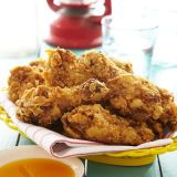 "<p>Rubbed with a flavorful, chile-loaded spice mixture and served with a sweet and spicy mango-honey sauce, this is not your grandma's fried chicken.</p> <p><strong>Recipe:</strong> <a href=""../../../recipefinder//16-spice-fried-chicken-mangored-chile-honey-recipe-ghk0712"" target=""_blank""><strong>16-Spice Fried Chicken with Mango-Red Chile Honey</strong></a></p>"
