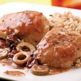 "<p>This sweet and salty sauce with dried cherries and port is wonderful over succulent chicken thighs. Feel free to substitute cranberry juice cocktail for port, which is a fortified wine that provides an immediate depth of flavor.</p> <br /> <p><b>Recipe: </b><a href=""/recipefinder/chicken-thighs-green-olive-cherry-port-sauce-recipe-9331"" target=""_blank""><b>Chicken Thighs with Green Olive, Cherry, and Port Sauce</b></a></p>"