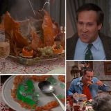 "The Griswold family sits down in front of a gorgeous golden turkey. Before carving it, Clark says, ""Cathrine, if this turkey tastes half as good as it looks, I think we're all in for a very big treat."" As soon as he begins cutting, the turkey makes a grotesque farting noise and instantly deflates, sending Cathrine into a fit of tears."
