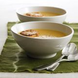 "<p>Creamy and decadent, this smooth soup is ideal for fall, with butternut squash and Gala apples simmered in chicken broth with onion, ginger, apple cider, and heavy cream, and served with small Gruyère toasts.</p><p><b>Recipe: <a href=""/recipefinder/butternut-squash-soup-recipe-122744"">Butternut Squash Soup</a></b></p>"