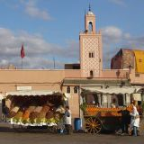 Located next to Marrakech's historic Medina, this bustling main square is always at the top of the list for travelers, and for good reason. It's a lively thousand-year-old cultural spectacle, with snake charmers, costumed acrobats, Berber musicians, herbalists and beggars. There are lots of surrounding restaurants that offer upper-level ringside seating, but I'd prefer to take my meal in the midst of all the action. Follow your nose to the vendors hawking méchoui. This pit-roasted whole lamb is pulled by hand, topped with cumin and salt, and piled high on a napkin. Teamed with a glass of mint tea, this might be my all-time favorite market meal. Getting lost in the Djemaa is half the fun. Go in deep and try to head back out where you came in. Good luck.