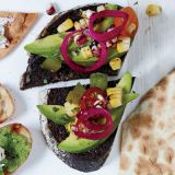 "<p>Fresh and colorful, this tantalizing vegan appetizer uses the best of late summer produce.</p><p><b>Recipe: </b><a href=""http://www.delish.com/recipefinder/pumpernickel-avocado-charred-corn-tomato-recipe-fw0911?click=recipe_sr""><b>Pumpernickel with Avocado, Charred Corn, and Tomato</b></a></p>"