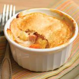 "<p>Clever shortcuts make these individual pot pies from Everyday Food reader Martha C. Neumann of Bloomfield Hills, Michigan, surprisingly easy. Store-bought rotisserie chicken and pie dough cut the prep time&#x3B; fennel bulb, fennel seed, and cubed ham update it. Add a rustic twist by baking these pot pies in mason jars instead of ramekins.</p><p><b>Recipe: </b><a href=""http://www.delish.com/recipefinder/chicken-pot-pies-ham-recipe""><b>Chicken Pot Pies with Ham</b></a></p>"