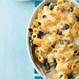 """<p>A few bright greens are all you need to prevent the feeling of waddling away from the table. Double cheese ensures you're still getting the comfort you crave.</p><p><strong>Recipe: <a href=""""http://www.delish.com/recipefinder/double-cheese-macaroni-greens-recipe-wdy0313"""" target=""""_blank"""">Double-Cheese Macaroni and Greens</a></strong></p>"""
