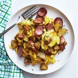 "<p>Eating your comfort foods in the a.m. can keep you fueled all day, rather than dragging at night. Mix up that sausage and potato craving with some eggs and you have a protein-packed breakfast fit for even the toughest day.</p> <p><strong>Recipe: <a href=""http://www.delish.com/recipefinder/kielbasa-potato-onion-scramble-recipe-wdy0514"" target=""_blank"">Kielbasa, Potato, and Onion Scramble</a></strong></p>"