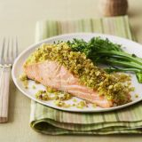 "<p>This quick and simple salmon, coated in couscous and baked until just crispy, will get even the pickiest eaters to enjoy their healthy portion of fish.</p> <p><strong>Recipe: <a href=""http://www.delish.com/recipefinder/couscous-crusted-salmon-recipe-ghk0213"" target=""_blank"">Couscous-Crusted Salmon</a></strong></p>"