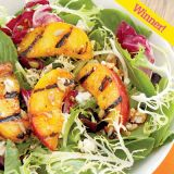 "<p><i>Quick & Simple</i> Perfect Picnic Dish runner-up Margee Berry of Trout Lake, WA, used her grill to bring extra flavor to this unexpected side dish.</p><br /> <p><b>Recipe: </b><a href=""/recipefinder/gorgeous-greens-and-peaches-salad"" target=""_blank""><b>Gorgeous Greens and Peaches Salad</b></a></p>"