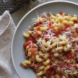 Cavatappi with Red Peppers and Prosciutto
