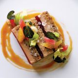 "<p>My favorite course involved Moulard duck foie gras. Chef Eric Haugen cooks the duck liver sous vide, so that it melts, then refrigerates it to firm it up&#x3B; the result is exceptionally smooth. Layered with banana-walnut bread and a crimson rhubarb gelée, it is the most luxurious comfort food imaginable — creamy duck liver sandwiched between sweet bread and tart jelly, with painterly garnishes that include celery leaves and red watercress. It's supremely gratifying to know that a 26-year-old South Korean chef adopted by parents from Illinois could land on the New England coast with such universally delicious dishes. — <i>Dana Cowin</i></p><br /><p><b>Related Recipes:</b> <a href=""/recipes/cooking-recipes/banana-bread""><b>6 Homemade Banana Bread Recipes</b></a></p>"