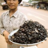 <p><b>Where It's Sold:</b> Cambodian street markets<br /> <b>The Fried Facts:</b> Frying is a beloved cooking method across the globe. If you're looking for mid-afternoon snack in Skuon, Cambodia, the top choice is definitely fried tarantulas — head, legs, fangs, and all!</p>