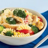 """Perk up your pasta.<br /><br /> Toss together chopped chicken breasts, pasta, and frozen vegetables for a healthy, in-a-flash supper.<br /><br /> <b>Recipe:</b> <a href=""""http://www.delish.com/recipefinder/pasta-with-chicken""""target=""""_new"""">Pasta with Chicken and Vegetables</a>"""