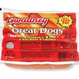 "<p><b>#1: <a href=""http://www.gwaltneyfoods.com/home.asp""target=""_new"">Gwaltney Great Dogs Chicken Franks </a></b><br /> Truly the closest to real beef hot dogs we've tasted — salty, juicy, snappy skin — but lower in fat! <br /><br />  <b>#2: <a href=""http://www.kunzler.com/""target=""_new"">Kunzler Chicken Franks </a></b><br /> Flavor and texture are similar to #1, but not quite as juicy and snappy.<br /><br />  <p><b>Related Recipe: <a href=""recipefinder/crosshatch-hot-dogs-on-grilled-croissants-recipe"" target=""_blank"">Crosshatch Hot Dogs on Grilled Croissants</a></b></p>"