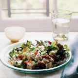 "Chicken salad begins with leftover <a href=""/search/fast_search_recipes/?search_term=roast%20chicken"" target=""_blank""><b>roast chicken</b></a>, and can incorporate whatever ingredients you have on hand: from bell peppers, celery, and walnuts (shown), to snow peas and even grapes. Plus, the vinaigrette recipe yields enough to dress a few more small salads.<br /><br /><b>Recipe: <a href=""/recipefinder/chicken-salad-recipe"" target=""_blank"">Chicken Salad</a></b>"