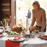 <b>Dishes: </b>Family china may steer the table's theme, but introducing a few simple, con-temporary pieces can create an entirely new look that is as personal as it is inviting.  <br /><br /><b>Table:</b> Favorite items like colorful linen napkins or a family heirloom can inspire the overall look. Employ a sideboard to keep plates and glassware handy for the second course and the dining table uncluttered.<br /><br /><b>Flowers:</b> Make the centerpiece as colorful as the rest of the table. Keep it compact so it doesn't interfere with the passing of dishes.