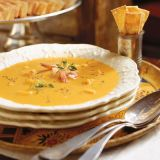 "At each place, offer crackers for soup in small silver cups.<br /><br /><b>Recipe:</b> <a href=""/recipefinder/shrimp-bisque-bourbon-3321"" target=""_blank""><b>Shrimp Bisque with Bourbon</b></a>"