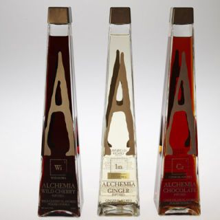Alchemia vodkas come in ginger, black cherry, and chocolate. The company sets itself apart by offering real infused vodkas instead of using artificial flavoring like many brands currently on the market. The bottles themselves show the care taken in the vodka preparation. Each bottle is hand blown glass, shaped to look like an alembic, an alchemist's tool (hence the company name). The front design is inspired by the periodic table and elaborates on the Alchemy theme.