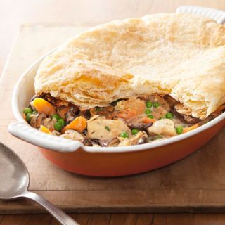 "<p>Try...Creamy Chicken & Mushroom Pie<br /><br />Ditch the bottom crust and swap in half-and-half for cream, and you get a rich-tasting dish with half the fat. Kudos to frozen puff pastry for making it weeknight-fast.</p> <p><strong>Recipe:</strong> <a href=""../../../recipefinder/creamy-chicken-mushroom-pie-recipe-ghk0113"" target=""_blank""><strong>Creamy Chicken and Mushroom Pie</strong></a></p>"