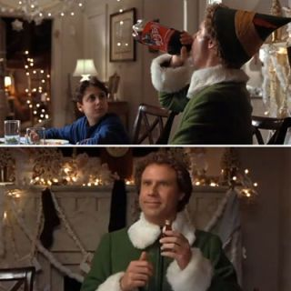 "Who can possibly forget Will Ferrell's absurd sugar consumption in Elf? The most infamous scene has to be at the family dinner when Will Ferrell drinks an entire liter of Coke and then proceeds to pour maple syrup all over his spaghetti dinner. When asked, ""You like sugar, huh?"" Buddy innocently responds, ""Is there sugar in syrup?"" According to Buddy, ""Elves stick to the four main food groups: candy, candy canes, candy corns, and syrup."""