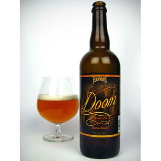"""Doom is an Imperial IPA aged in oak bourbon barrels for four months. One might imagine that the powerful flavors of a robust, hoppy IPA and a sweet, oak-aged bourbon would collide in this marriage of two independently delicious libations. Surprisingly, even at 10 percent alcohol content by volume (ABV), Doom is balanced and smooth. This full-bodied, sweet, hint-of-vanilla beer is best sipped as an after-dinner drink."""