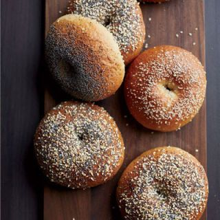 "<p>Bagels, when purchased from a market or bakery, can often be made with many different grains, flours, and other ingredients, so it can be difficult to know exactly what you're getting.If you can speak directly to a baker, that's always best, but if you're buying pre-packaged bagels, make sure you look closely at the label — some brands sell lots of wheat or honey-wheat bagels, but that doesn't necessarily mean that the flour used is whole wheat — it could be wheat that has still been refined, and the bran or germ separated from the rest of the grain,  then perhaps enriched with additional vitamins or other ingredients after the fact. Read the packaging carefully, and look for that key word, ""whole,"" before making a decision. Or, of course, make bagels at home, which might be a little easier than you think! The recipe below uses a combination of bread and whole-wheat flours to achieve the perfect chewy texture.</p> <p><b>Recipe: <a href=""http://www.delish.com/recipefinder/homemade-bagels-recipe-fw0213"" target=""_blank"">Homemade Bagels</a></b></p>"