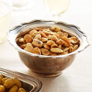 "<p>This recipe elevates the already sinful Marcona almond with flavors that are reminiscent of fall. A perfect snack while waiting for the Thanksgiving turkey.</p> <p><b>Recipe: <a href=""http://www.delish.com/recipefinder/thyme-roasted-marcona-almonds-recipe-ghk1113"">Thyme-Roasted Marcona Almonds</a></b></p>"