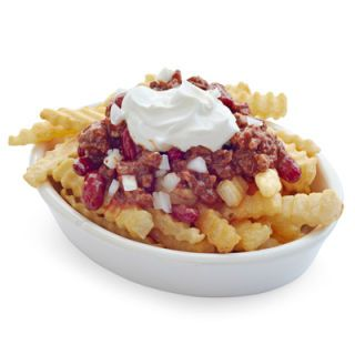 Top 16 ounces of prepared frozen french fries with 1/2 cup of store-bought beef or vegetarian chili, 1/4 small white or red onion, chopped; and 2 Tablespoons of reduced-fat sour cream. Serves 8.