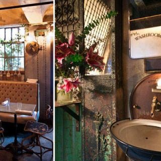 "<p>For fans of Steampunk, the one at <a href=""http://smithandmills.com/"" target=""_blank"">Smith & Mills</a> might very well be the coolest restroom you'll ever see. Copper, brass, wrought iron, and tile dominate the room, and even the paper towel dispenser has been given a Steampunk makeover. </p>"