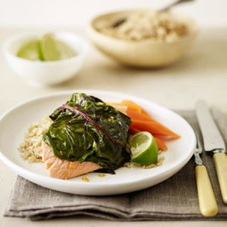 "Ready in 30 minutes, this heart-healthy salmon recipe is topped with Swiss chard.<br /><br /> <b>Recipe:</b> <b> <a href=""/chard-wrapped-salmon-recipe""target=""_new"">Chard-Wrapped Salmon</a> (pictured)<br /><br /> More Recipes:<br /> <a href=""/recipefinder/fusilli-swiss-chard-garbanzo-bacon-ghk1007""target=""_new"">Fusilli with Swiss Chard, Garbanzo Beans, and Bacon</a><br /> <a href=""/recipefinder/stuffed-swiss-chard-4008""target=""_new"">Stuffed Swiss Chard</a></b>"