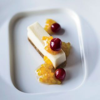 """<p>Goat cheese is substituted for cream cheese in this clever twist on a traditional cheesecake recipe.</p><br /> <p><b>Recipe: </b><a href=""""/recipefinder/goat-cheese-cheesecake-honeyed-cranberries-recipe"""" target=""""_blank""""><b>Goat Cheese Cheesecake with Honeyed Cranberries</b></a></p>"""
