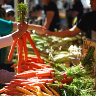 "Manhattan might be the last place you associate with farms, but four days a week all year round, more than 140 farmers and vendors make their way to the <a href=""http://www.grownyc.org/unionsquaregreenmarket"" target=""_blank""><b>Union Square Greenmarket</b></a> to sell chefs, locals, and tourists apples (it's not called the Big Apple for nothing), leafy greens, rooftop honey, fresh goat cheese, and many more local delights.<br /><br /><b>Recipe:</b> <a href=""/recipefinder/goat-cheese-arugula-sandwiches-recipe-tdg0910"" target=""_blank""><b>Goat Cheese and Arugula Sandwiches</b></a>"