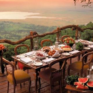 "Enjoy breathtaking views of the Ngorongoro Crater along the eastern arm of Africa's Rift Valley. And enjoy the food too, thanks to luxury travel provider <a href=""http://www.andbeyondafrica.com/luxury_safari/tanzania/ngorongoro_crater/and_beyond_ngorongoro_crater"" target=""_blank"">&Beyond</a>. The region is a great place to see African wildlife as well as traditional Maasai herders."