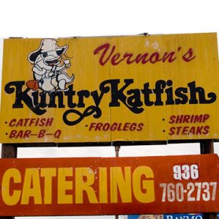 "<p><b>Pit Stop:</b> <a href=""http://kuntrykatfish.com/"" target=""_blank"">Vernon's Kuntry Katfish</a>, 5901 W. Davis, Conroe, TX, (409) 760-3386</p><br /><p>About 100 miles away from Gavelston (and four miles west of I-45) you can get your fill of Vernon's house specialty: Mississippi-raised catfish, served breaded and <a href=""http://www.delish.com/recipefinder/cornmeal-catfish-fingers-3508"" target=""_blank""><b>fried</b></a>, <a href=""http://www.delish.com/recipefinder/lemon-pepper-catfish-recipe-1551"" target=""_blank""><b>lemon-peppered</b></a>, or blackened. Try the Southern Sampler of classic fried green tomatoes, fried pickles, and fried yellow squash.</p><p><b>Road Tip:</b> The restaurant only has 40 seats, but they offer take-out.</p>"