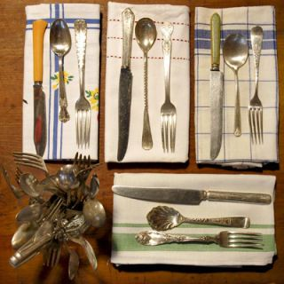 Everyone has a few spoons or forks of unknown origin. Celebrate these mismatched mystery pieces at your next fete: Try to give each place setting a different set of silverware. To fill out your own collection, try estate sales, thrift stores, and yard sales; often you can buy large quantities cheaply. Personality counts: The right find can be a real conversation starter. Complement the look with antique and vintage linens, or older cloth napkins. Whether it's sterling or real silver, the easiest way to prevent tarnish is frequent use, so invite your friends for dinner tonight.