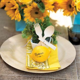 """1. PERSONALIZE SETTINGS: Place cards always say """"welcome."""" Here, guests' names are written on fresh lemons, a perfect complement to the out-doorsy theme and the party's color palette. Any small fruit will work just as well."""