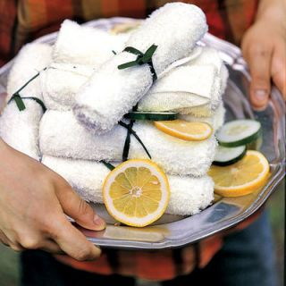 2. PAMPER YOUR GUESTS: When serving messy fare such as barbeque, offer guests an easy, and thoughtful, way to clean up. Spritz damp washcloths with lemon juice, microwave for a few minutes, then arrange on a pretty platter.